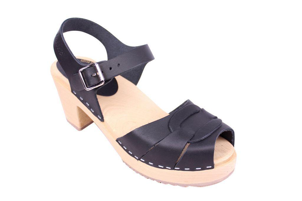 Heel Peep Toe Wooden Clogs in Black Leather