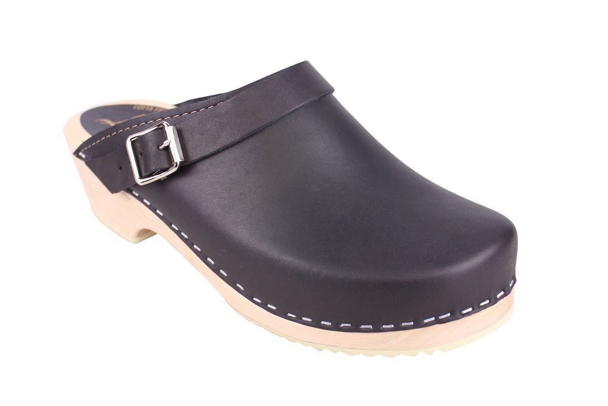 Classic Black Clogs with Moveable Strap