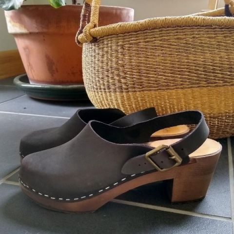 Eva Sling Chocolate Brown Nubuck Clogs