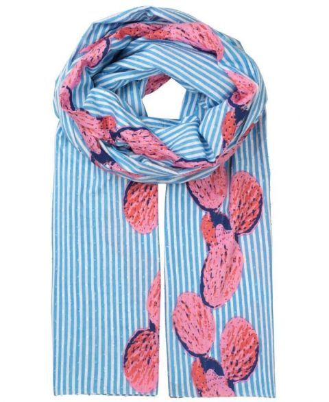 Unmade Calico Cactus Scarf in Sky Blue
