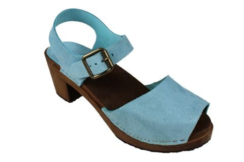 Alicia High Heel Open Blue Micro Style Nubuck Finish with Brown Base