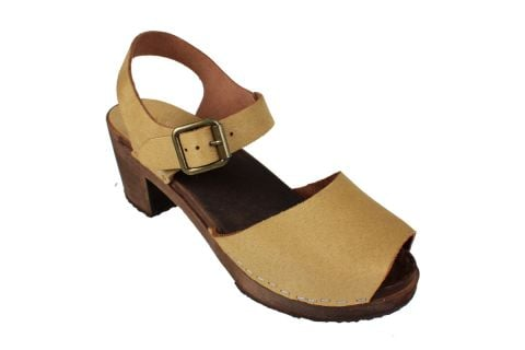 Alicia High Heel Open Sand Micro Style Nubuck Finish with Brown Base
