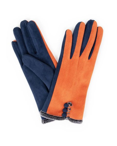 Powder Amanda Faux Suede Gloves in Tangerine and Navy