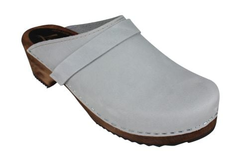 Classic Sea Grey Oiled Nubuck Clogs on Brown Base