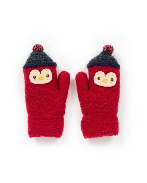 Powder Kids Woolly Penguin Mittens in Scarlet