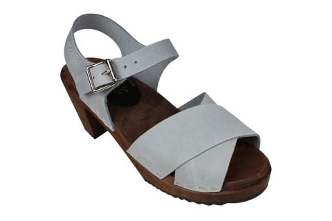 Cross Over Sea Grey Oiled Nubuck Clogs on Brown Base