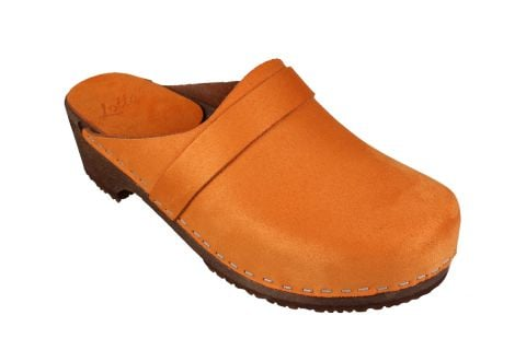 Elsa Classic in Orange Stain Resistant Nubuck on Brown Base