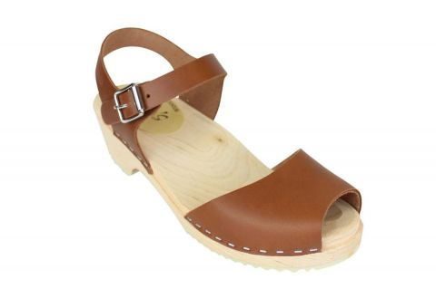 low wood open tan clogs