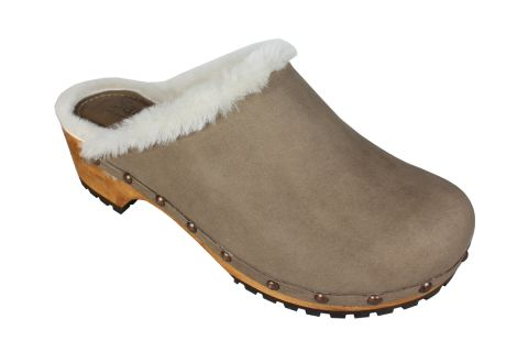 Sanita Hese Wooden Clog with shearling fur in Yak Nubuck Leather Taupe