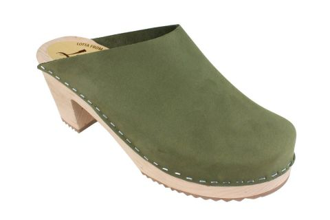High Heel Classic Clog Green Oiled Nubuck