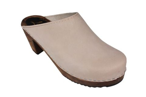 High Heel Classic Oatmeal Oiled Nubuck Clogs on Brown Base