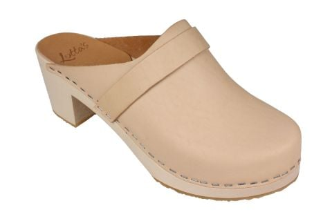 Elsa High Heel Classic Clog Natural Leather