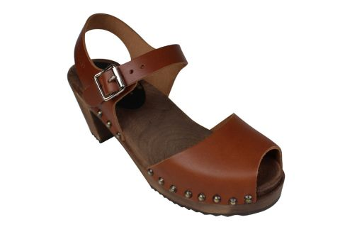 Highwood Open Stud Cinnamon Clogs on Brown Base