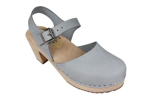 Highwood Sea Grey Oiled Nubuck Clogs