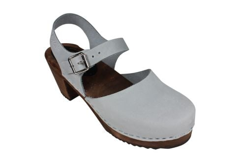 Highwood Sea Grey Oiled Nubuck Clogs on Brown Base