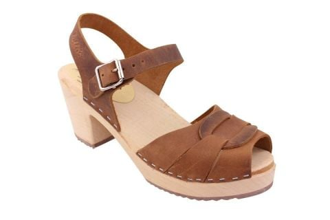 peep toe clogs brown oiled nubuck