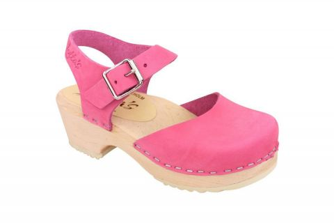 Little Lotta's Low Wood Pink Nubuck Clogs