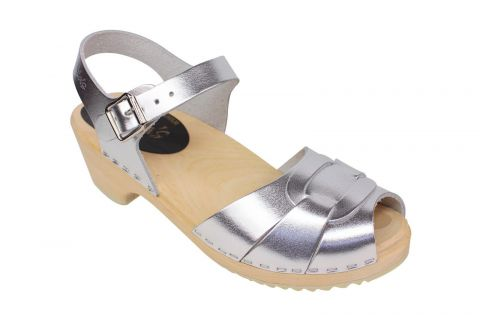 Lotta From Stockholm Low Heel Peep Toe in Silver Leather