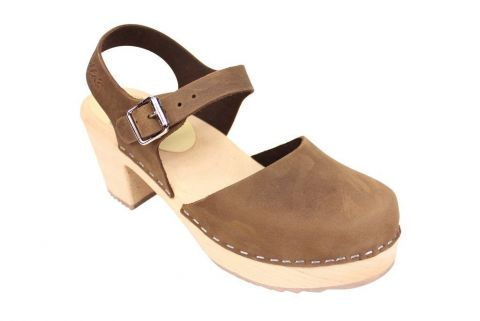 high wood brown nubuck clog