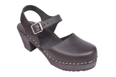 highwood black clog with a painted black base