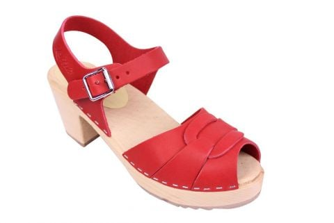 Lotta From Stockholm Peep Toe in Steel Red Leather