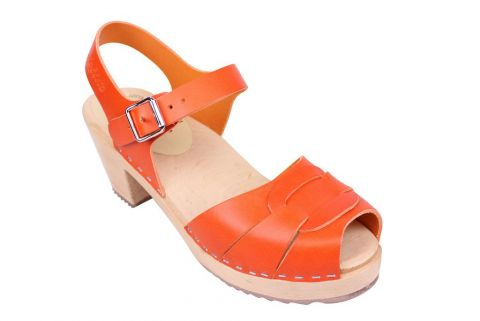 Lotta From Stockholm Peep Toe Clogs in Orange Leather