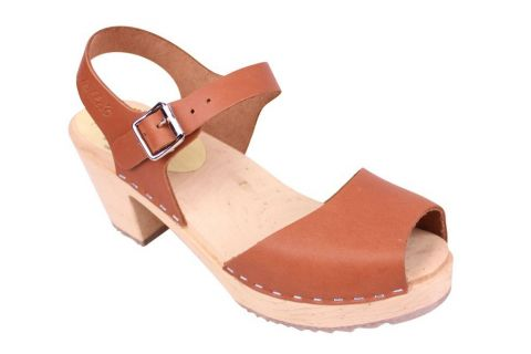 Lotta From Stockholm Highwood Open Clog in Tan Leather Seconds