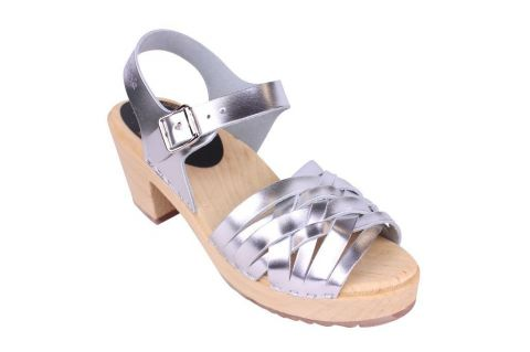 Lotta From Stockholm High Heel Braided Clogs in Silver Leather Main