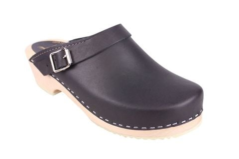 Classic Black Leather Clogs with Strap
