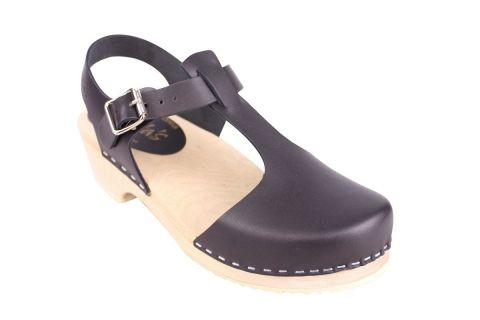 Low woot T-bar Black Clogs