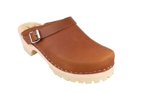 Classic Brown oiled nubuck clogs with strap and tractor sole