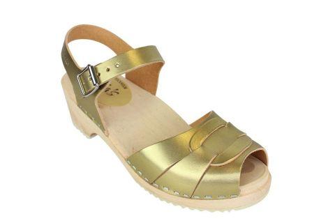 Low Peep Toe Clogs Antique Gold