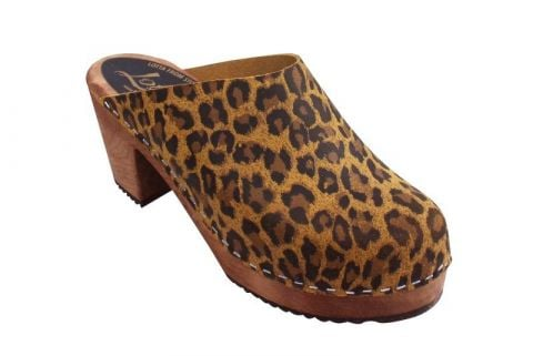 High Heel Classic Clog in Leopard with Brown Base