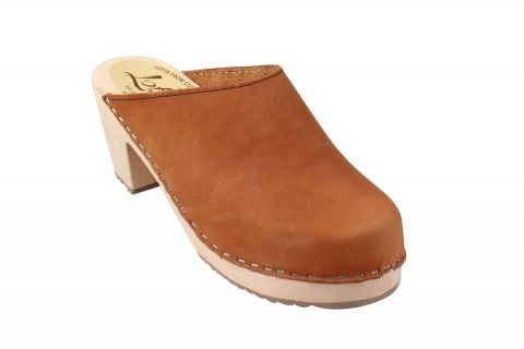 High Heel Classic Clog Brown Oiled Nubuck Seconds