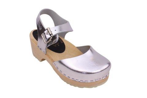 Little Lotta's Low Wood Silver Clogs