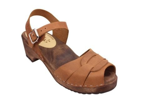 Low Peep Toe Brown Oiled on Brown Base