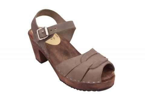 Peep Toe Clogs Dark Taupe Oiled Nubuck on Brown Bas