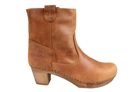 Sanita Juna Wooden Clog Boot in Embossed Leather Cognac