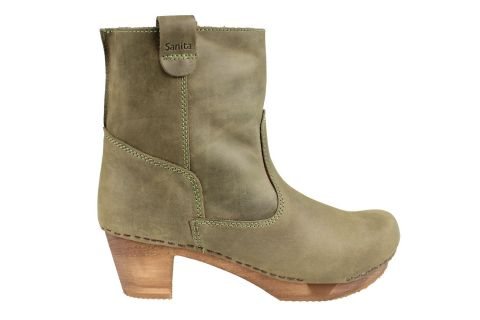 Sanita Juna Wooden Clog Boot in Embossed Leather Moss Green