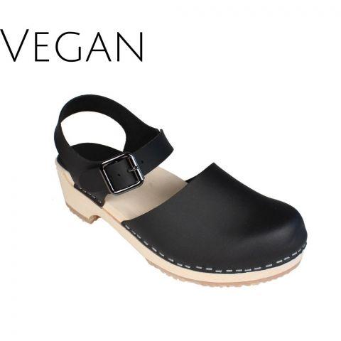 Vegan Greta Low Wood Clogs Black Vegan Leather