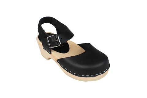 Little Lotta's Low Wood Black Clogs