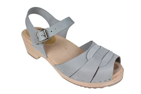 Low Peep Toe Sea Grey Oiled Nubuck Clogs