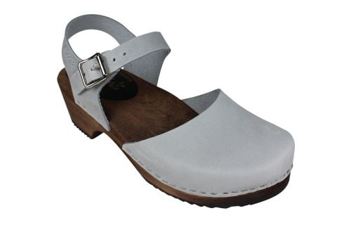 Low Wood Sea Grey Oiled Nubuck Clogs on Brown Base