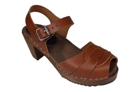 Peep Toe Cinnamon Clogs on Brown Base
