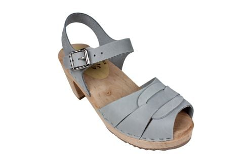 Peep Toe Sea Grey Oiled Nubuck Clogs