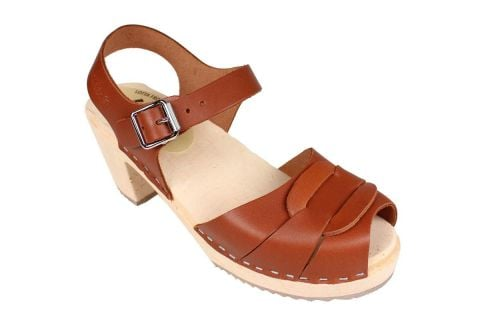 Lotta From Stockholm Peep Toe Clog in Tan Leather rev side 2