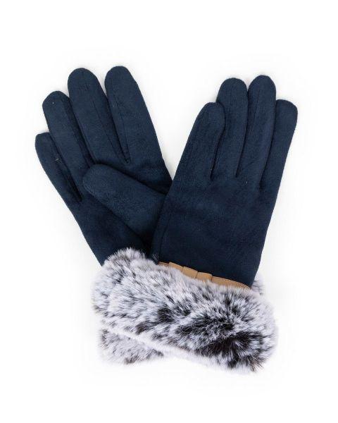 Powder Penelope Faux Suede Gloves in Navy