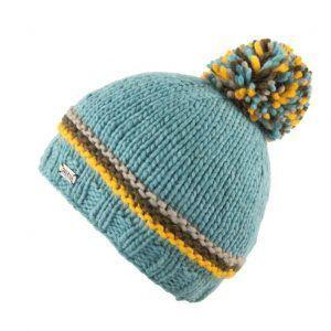 Kusan Thick Knit Bobble Hat in Aqua