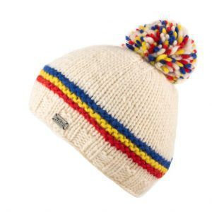 Kusan Thick Knit Bobble Hat in White