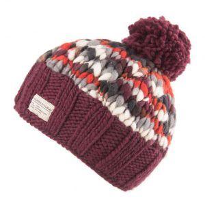 Kusan Thick Knit Moss Yarn Bobble Hat in Caramel
